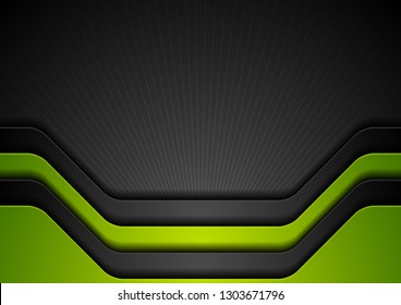Abstract corporate green and black tech modern background. Vector design
