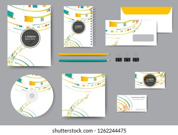 Abstract corporate identity template with geometric elements