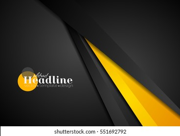 Abstract corporate orange black tech background. Vector geometric graphic design