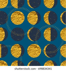 Abstract cosmic seamless pattern with moon. Trendy hand drawn texture, glitter geometric elements. Vector modern design for paper, wallpaper, cover, fabric, Interior decor, sportswear and other users.