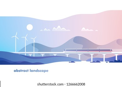 Abstract countryside landscape. Rural area with hills, fields and train. Vector illustration.