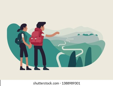Abstract couple standing on mountain top looking forward to forthcoming journey, flat vector illustration. Hikers traveling together concept layout