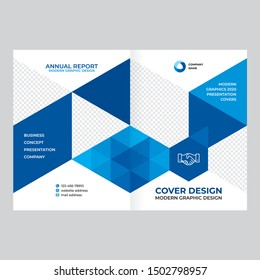 Abstract cover design for brochure, flyer, advertising booklet, modern geometric style, blue background for banner in vector