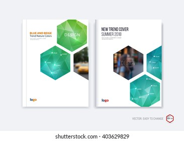 Abstract cover design, business brochure template layout, report, booklet in A4 with turquoise and bright blue green hexagonal geometric shapes on polygonal background. Creative vector Illustration.