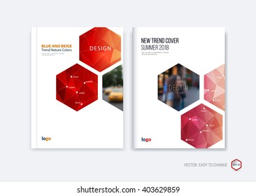 Abstract cover design, business brochure template layout, report, booklet in A4 with red hexagonal geometric shapes on polygonal background. Creative vector Illustration.