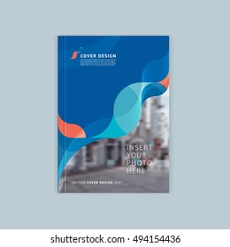 Abstract cover design, business brochure template, layout, report, magazine or booklet in A4 coral turquoise waves dynamic blurred, soft lines and smooth forms. Vector.
