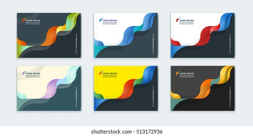 Abstract cover design, business brochure template, layout, report, magazine or booklet in A4 horizontally in multi-colored waves dynamic fuzzy, soft lines and smooth shape. Vector flat illustration.