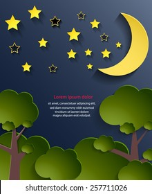 Abstract cover design for kids book, night background. Vector eps10.
