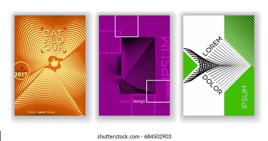 Abstract cover design set, cool gradient templates, A4 linear vector