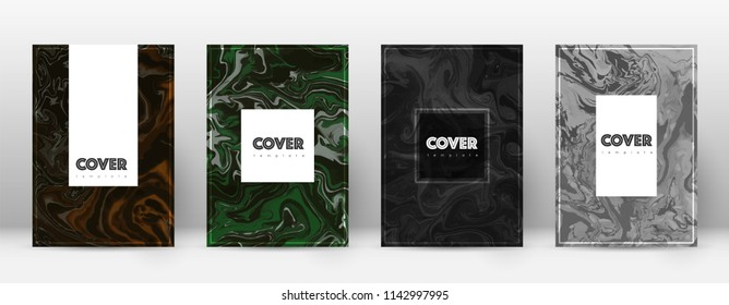 Abstract cover. Elegant design template. Suminagashi marble hipster poster. Elegant trendy abstract cover. Business vector illustration.
