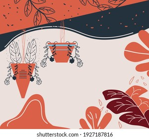 abstract cover garden plant in pots