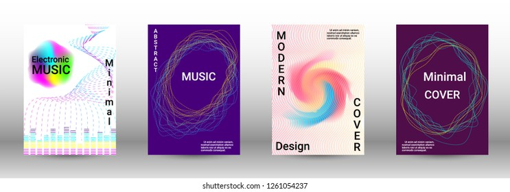 Abstract cover. Modern design template. Creative sound backgrounds from abstract lines, gradient wave, halftone to create a fashionable cover, banner, poster, booklet.