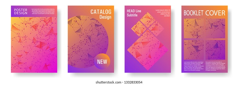 Abstract cover page layout. Global network connection polygonal grid. Interlinked nodes, molecular or  big data cloud structure concept. Information technology concept cover.