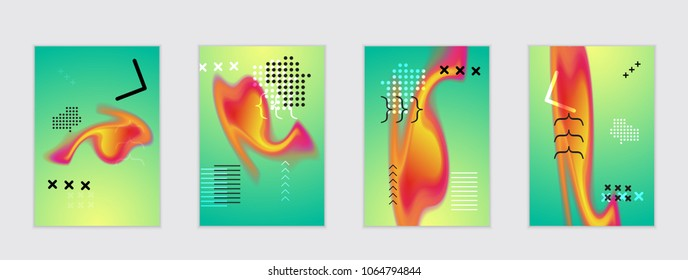 Abstract cover template with black geometric shapes. Poster with gradient neon colored  curved glow fluid shape. Liquid bright colors.