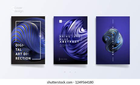 Abstract cover template set with trendy 3d twisted shape - Bring Into Blue, can be used for business presentation, luxury poster and branding broshure. Vector illustration