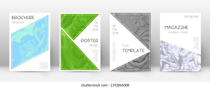 Abstract cover. Uncommon design template. Suminagashi marble triangle poster. Uncommon trendy abstract cover. Business vector illustration.