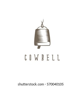 abstract cowbell with rope vector design template