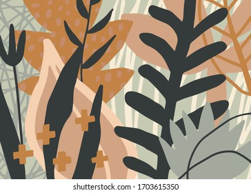 Abstract creative aesthetic background with plants and various graphic elements. Universal vector illustration for your design.