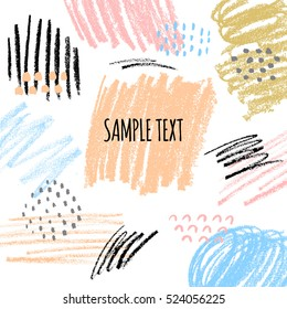 Abstract creative background with hand drawn textures, pastel chalk crayon, geometric shapes in hipster style.
