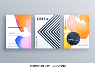 abstract creative brochure design template set made with lines and fluid colors