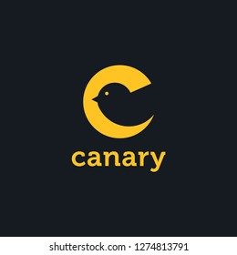 Abstract creative C letter logo of Canary with negative space style