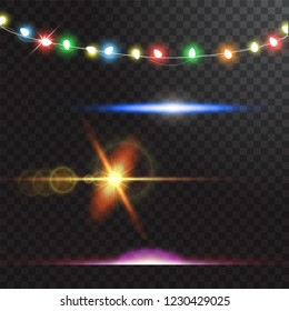 Abstract creative christmas garland light isolated on background. template. Vector illustration clipart art for Xmas holiday decoration. Concept idea design element. Realistic luminous bulb. Glow lamp