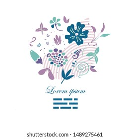 abstract creative composition with floral doodles forming shapes