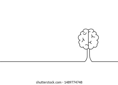 Abstract creative concept background, outline stoke the brain Vector illustration.