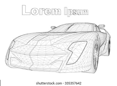 Abstract Creative concept vector background of 3d car model. Sports car. Powerful racing car. Ring race. Fast sports coupe. Illustration of the lines. Polygonal model. Wheels on forged discs.