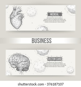 Abstract Creative concept vector background of the human brain and heart. Polygonal design style letterhead and brochure for business. Vector Illustration eps 10 for your design.