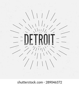 Abstract Creative concept vector design layout with text - Detroit. For web and mobile icon isolated on background, art template, retro elements, logos, identity, labels, badge, ink, tag, old card.