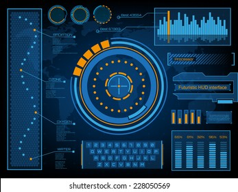 Abstract creative concept vector futuristic blue virtual graphic touch user interface HUD. For web, site, mobile applications isolated on black background, illustration, design, business infographic.