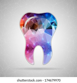 Abstract Creative concept vector icon of tooth for Web and Mobile Applications isolated on background. Vector illustration template design, Business infographic and social media, origami icons.