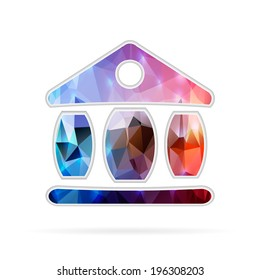 Abstract Creative concept vector icon of the exchange building for Web and Mobile Applications isolated on background. Vector illustration template design, Business infographic and social media.