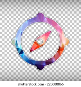 Abstract Creative concept vector icon of compass for Web and Mobile Applications isolated on background. Vector illustration template design, Business infographic and social media, origami icons.