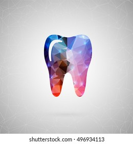 Abstract creative concept vector icon of tooth. For web and mobile content isolated on background, unusual template design, flat silhouette object and social media image, triangle art origami.