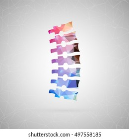 Abstract creative concept vector icon of spine. For web and mobile content isolated on background, unusual template design, flat silhouette object and social media image, triangle art origami.