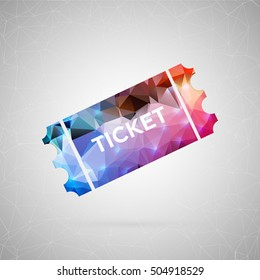 Abstract creative concept vector icon of lottery ticket. For web and mobile content isolated on background, unusual template design, flat silhouette object and social media image, triangle art origami