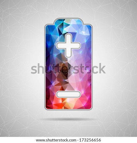 Abstract Creative concept vector icon of battery for Web and Mobile Applications isolated on background. Vector illustration template design, Business infographic and social media, origami icons.