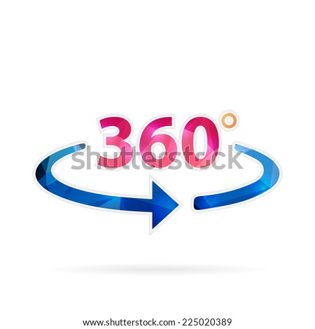 Abstract creative concept vector icon of 360 degrees. For web and mobile content isolated on background, unusual template design, flat silhouette object and social media image, triangle art origami.