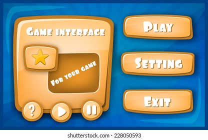 Abstract Creative concept vector Interface game design (resource bar and resource icons for games). Funny cartoon design ui game control panel including text and buttons.