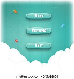 Abstract Creative concept vector Interface game design (resource bar and resource icons for games). Funny cartoon design ui game control panel including text and buttons such as exit, play, settings.