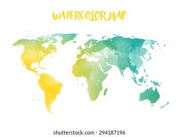 Watercolor World Map Images, Stock Photos & Vectors | Shutterstock