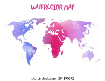 Watercolor Map World Isolated On White Stock Illustration 484857043 ...