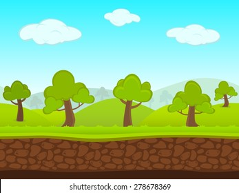 Abstract Creative concept vector summer seamless landscape. Art cartoon unending background with grass, trees, forest, blue sky layers, grounds, cloud, mountains for your game, animated film scene.