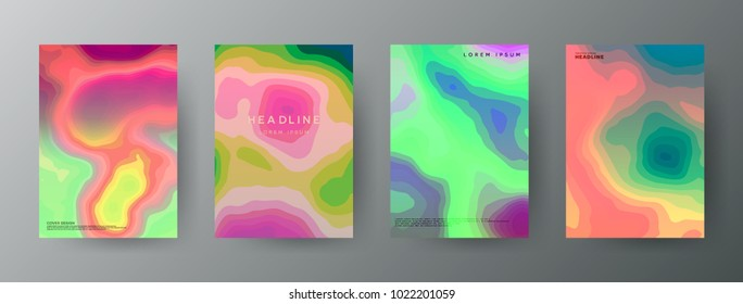 Abstract, creative cover concepts collection. Set of bright vector shapes. Topography colorful patterns . Banner, brochure, magazine, poster, cover, annual report, card template layout. Colour mixing