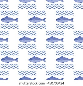 Abstract creative fish pattern. Pattern fish background. Graphic illustration of menu design, packaging bags, recipes, textiles.
