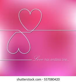 """Abstract creative line joined/ connected  hearts design template with quotation """"Love has endless line"""". Illustration, Vector eps10."""