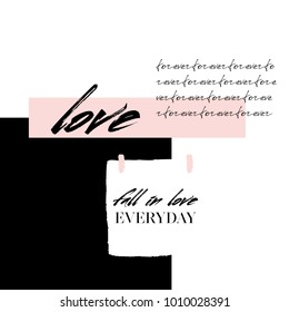 Abstract creative Love collage, abstract handwritten text forever and Fall in love everyday modern calligraphy quote on white sticker background. Postcard of love, valentines card, beauty card.