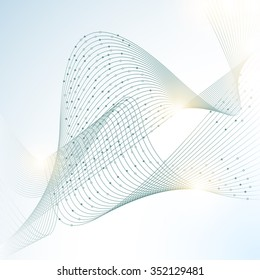 Abstract Creative Minimalist Polygonal Model in White Background. Connected Lines and Modern Technology Dots Elements Vector Design Template
